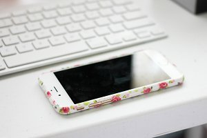 Floral iPhone On Desk