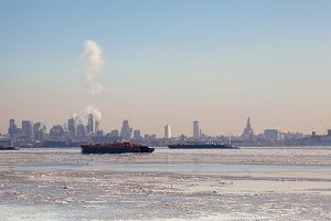 Winter NYC Skyline. Climate Change.