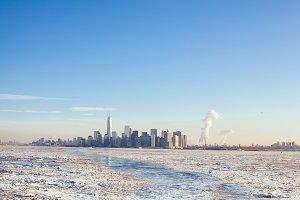 Winter NYC Skyline. Climate Change.