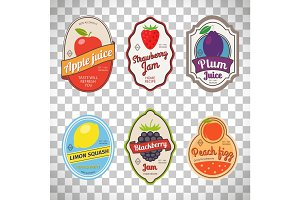 Vintage fruit labels on transparent background