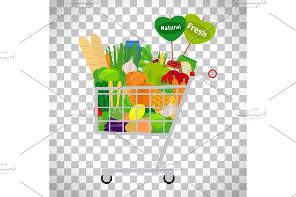 Supermarket Shopping Cart With Products