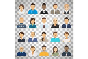 Business people avatars on transparent background