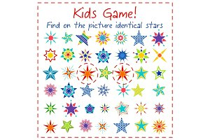 Kids game with colorful cartoon stars