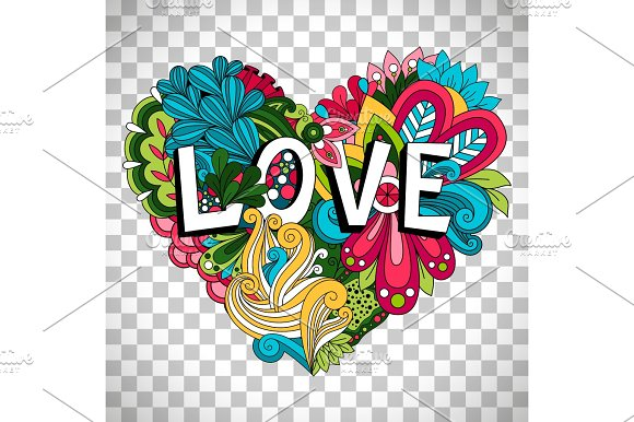 Doodle Floral Heart On Transparent Background