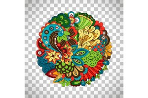 Ethnic doodle floral circle like pattern