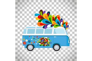 Hippie bus on transparent background