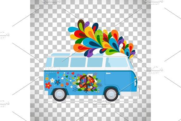 Hippie Bus On Transparent Background
