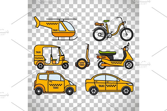Taxi Types Icons On Transparent Background