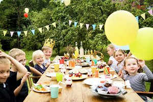 Kids celebrating party in a garden