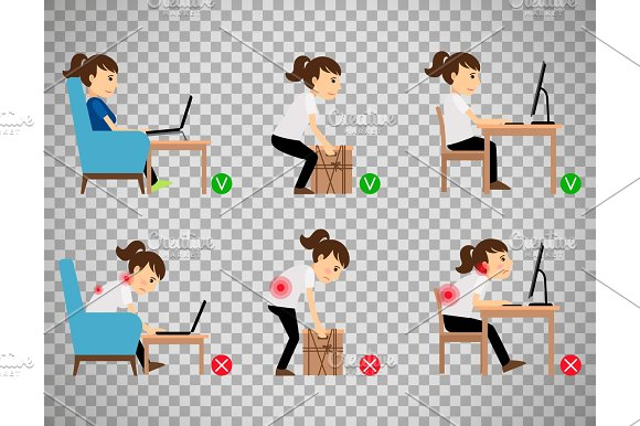 Woman Sitting And Working Correct Postures