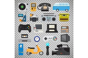 Hipster tech gadget icons