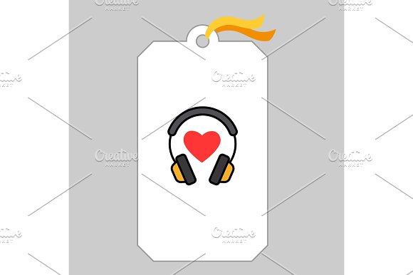 Music Tag With Headphone And Heart