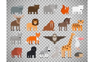 Zoo animals set on transparent background