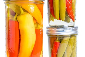 Hot peppers in brine