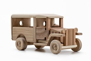 Cars. Model bus-toys made of wood.