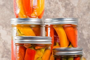Jars of pickled hot peppers