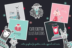 Cute Doodle Critters Vector Graphics