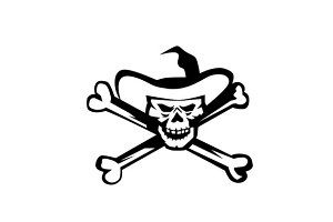 Cowboy Pirate Skull Cross Bones