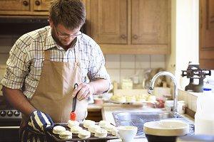 Man baking in a kitchen