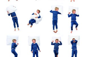 Kid in different sleeping positions