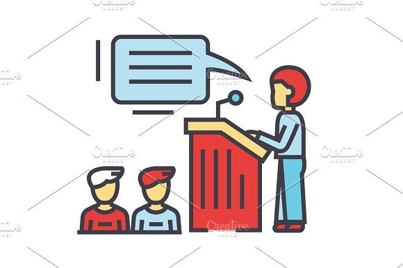Speaker Presentation Podium Tribune Stand Politician Concept Line Vector Icon Editable Stroke Flat Linear Illustration Isolated On White Background