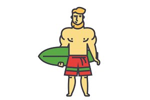 Strong bearded man with surfing board, surfer concept. Line vector icon. Editable stroke. Flat linear illustration isolated on white background