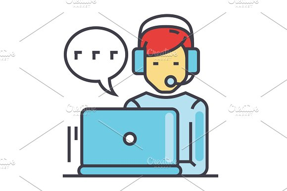 Support Customer Service Man With Computer And Headset Client Chat Concept Line Vector Icon Editable Stroke Flat Linear Illustration Isolated On White Background