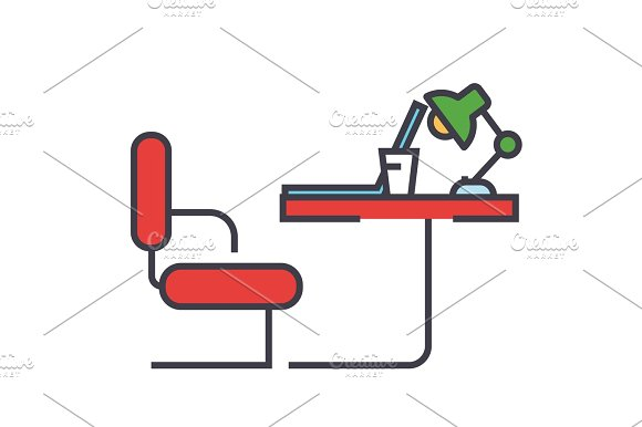 Table Office Sideview Concept Line Vector Icon Editable Stroke Flat Linear Illustration Isolated On White Background