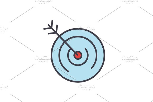Target Goal Vision Concept Line Vector Icon Editable Stroke Flat Linear Illustration Isolated On White Background