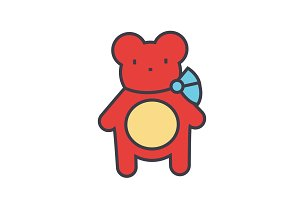 Teddy bear concept. Line vector icon. Editable stroke. Flat linear illustration isolated on white background