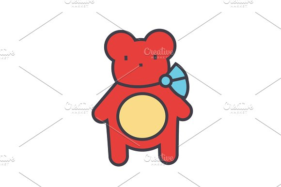 Teddy Bear Concept Line Vector Icon Editable Stroke Flat Linear Illustration Isolated On White Background
