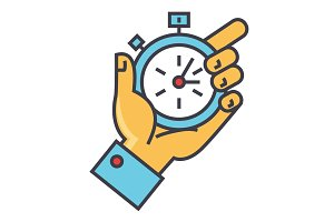 Time management, hand with timer, stopwatch concept. Line vector icon. Editable stroke. Flat linear illustration isolated on white background