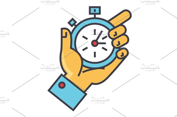Time Management Hand With Timer Stopwatch Concept Line Vector Icon Editable Stroke Flat Linear Illustration Isolated On White Background