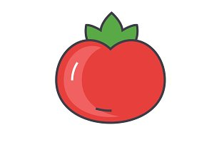 Tomato concept. Line vector icon. Editable stroke. Flat linear illustration isolated on white background