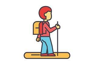 Tourister, traveler, backpacker concept. Line vector icon. Editable stroke. Flat linear illustration isolated on white background