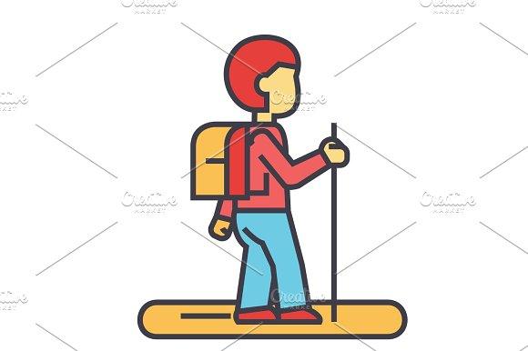 Tourister Traveler Backpacker Concept Line Vector Icon Editable Stroke Flat Linear Illustration Isolated On White Background