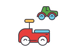 Toys cars concept. Line vector icon. Editable stroke. Flat linear illustration isolated on white background