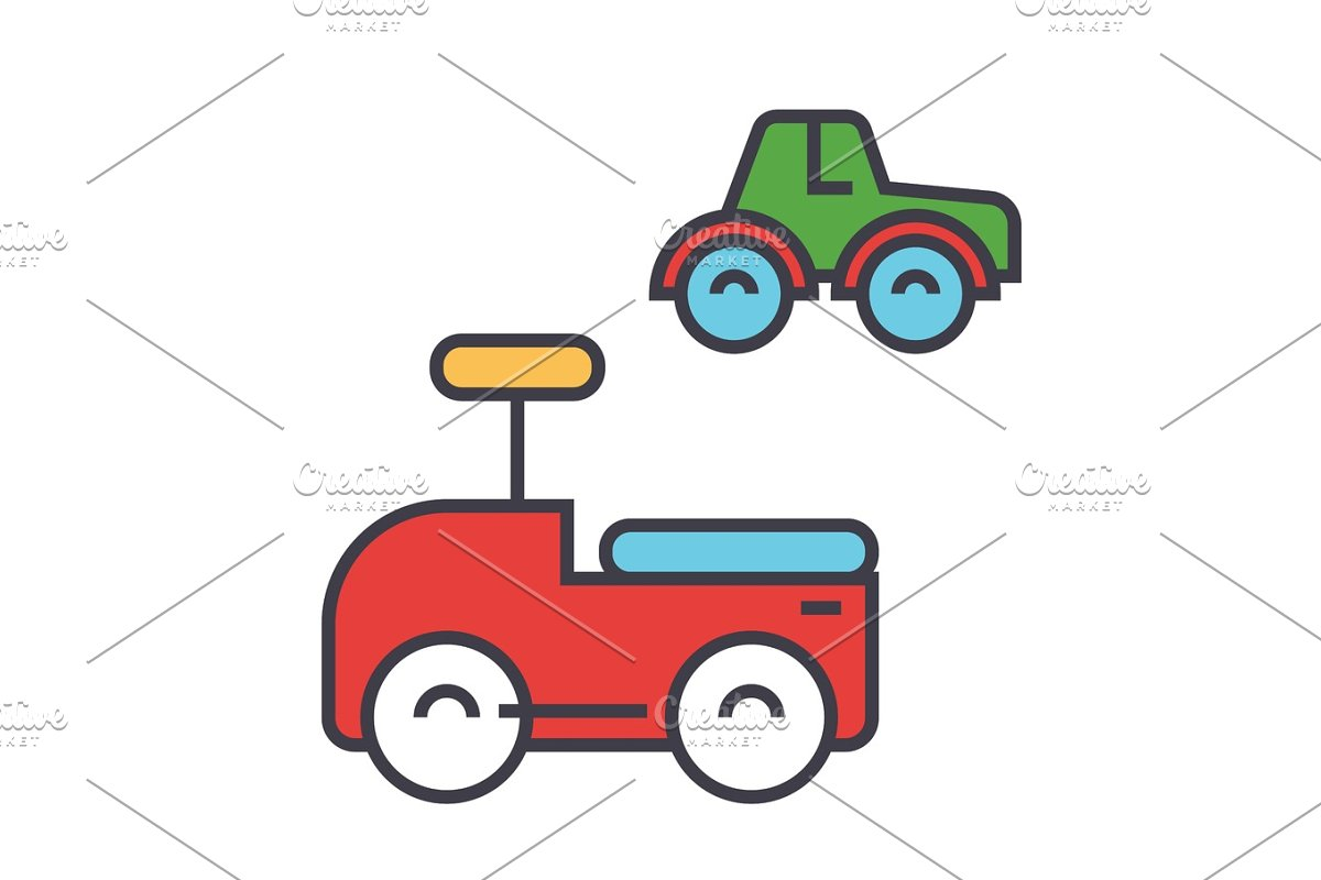 Toys cars concept  Line vector icon  Editable stroke  Flat linear  illustration isolated on white background