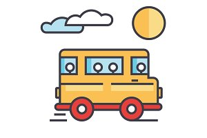 Travel bus concept. Line vector icon. Editable stroke. Flat linear illustration isolated on white background