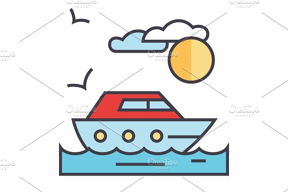Sea Travel Yacht Concept Line Vector Icon Editable Stroke Flat Linear Illustration Isolated On White Background