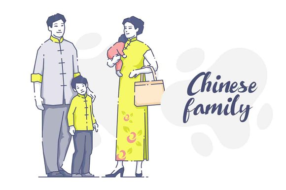 Chinese Parents With Children