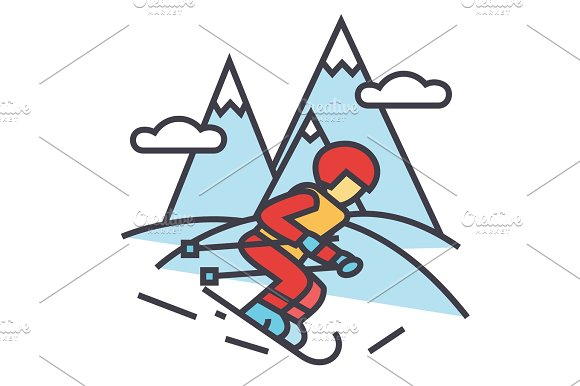 Winter Travel Skier Skiing In High Mountains Concept Line Vector Icon Editable Stroke Flat Linear Illustration Isolated On White Background