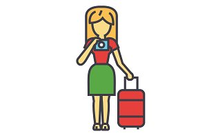 Traveler woman making a photo, vacation, trip, selfie concept. Line vector icon. Editable stroke. Flat linear illustration isolated on white background