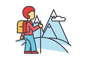 Traveller hiking in mountains concept. Line vector icon. Editable stroke. Flat linear illustration isolated on white background