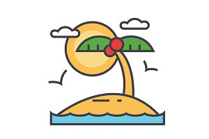 Tropical beach island, summer vacation concept. Line vector icon. Editable stroke. Flat linear illustration isolated on white background
