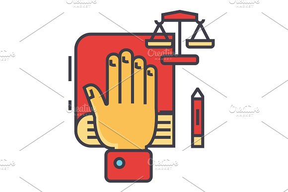 Truth Oath Hand On Book Bible Small Scales Law And Justice Constitution Concept Line Vector Icon Editable Stroke Flat Linear Illustration Isolated On White Background