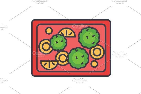 Fried Vegetables Vegan Vegetarian Concept Line Vector Icon Editable Stroke Flat Linear Illustration Isolated On White Background