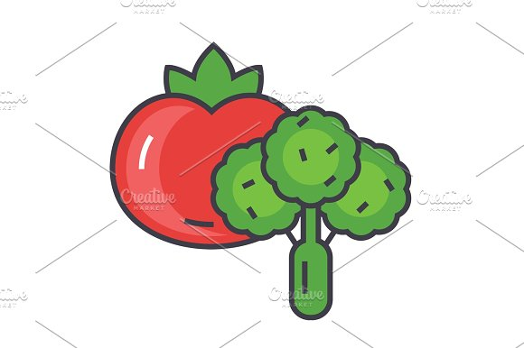 Vegetables Concept Line Vector Icon Editable Stroke Flat Linear Illustration Isolated On White Background