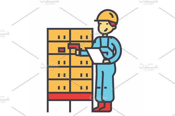 Warehouse Delivery Man Checking Bar Code On Post Boxes Concept Line Vector Icon Editable Stroke Flat Linear Illustration Isolated On White Background