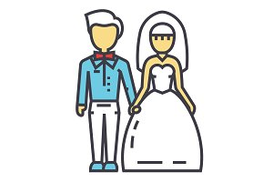 Wedding couple, bride and groom, marriage, just married concept. Line vector icon. Editable stroke. Flat linear illustration isolated on white background